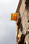 Catalonia: A New European State. Catalan Independence flags hanging on buildings in Girona.