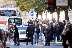 18-10-2011 VOETBAL: DINAMO ZAGREB - AJAX: ZAGREB<br /> Ajax fans walking through the city center, accompanied by police<br /> ***NETHERLANDS ONLY***<br /> ©2011-FRH- NPH/Zarko Basic