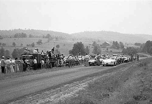 Starting grid for one of the one-off sports car races at Callicoon, New York State, USA, in 1953. Photo by Ozzie Lyons