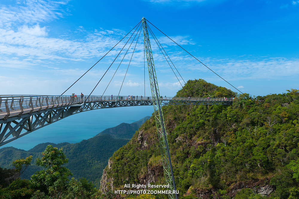 Panorama of Langkawi with Sky Bridge, Andaman sea and mountains