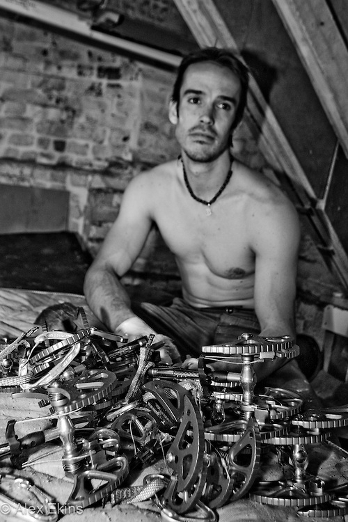 Tom Randall training for 'Century Crack'  in his cellar in Sheffield, England