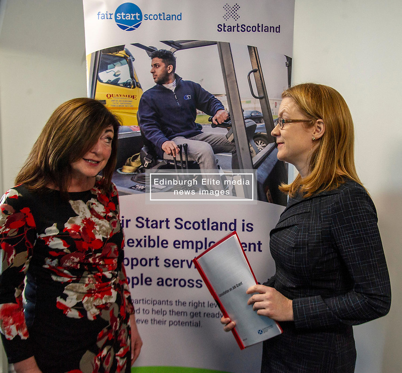 Pictured: Social Security Secretary Shirley-Anne Somerville and Louise Accarino, Start Scotland's Performance Manager for Edinburgh and Lothians.<br />Social Security Secretary Shirley-Anne Somerville visited the the Edinburgh offices of StartScotland to launch a consultation inviting views on a new benefit to help young people with the costs associated with starting work.<br /><br /><br />Ger Harley   EEm 16 January 2019