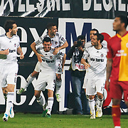 Besiktas's Simao SABROSA (B) celebrate his goal with team mate during their Turkish Superleague Derby match Besiktas between Galatasaray at the Inonu Stadium at Dolmabahce in Istanbul Turkey on Saturday, 30 April 2011. Photo by TURKPIX