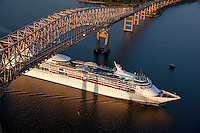 Baltimore Aerial Photography of Royal Caribbean Enchantment of the Sea sailing to the Maryland Port Administrations Cruise Terminal