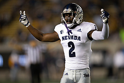 Nevada cornerback Isaiah Essissima (2) celebrates a defensive stop against California during the second quarter of an NCAA college football game, Saturday, Sept. 4, 2021, in Berkeley, Calif. (AP Photo/D. Ross Cameron)