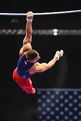 August 18, 2018 - Boston, Massachussetts, U.S - SAM MIKULAK practices on the high bar during the warm-up period before the final round of competition held at TD Garden in Boston, Massachusetts. (Credit Image: © Amy Sanderson via ZUMA Wire)