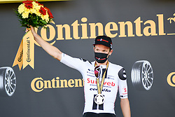 Soren KRAGH ANDERSEN (DEN) pictured celebrating on the podium after winning stage 19 of Tour de France cycling race, over 166,5 kilometers (103.4 miles) with start in Bourg-en-Bresse and finish in Champagnole, France,Friday, September 18, 2020.//JEEPVIDON_1615010/2009191625/Credit:jeep.vidon/SIPA/2009191634 / Sportida