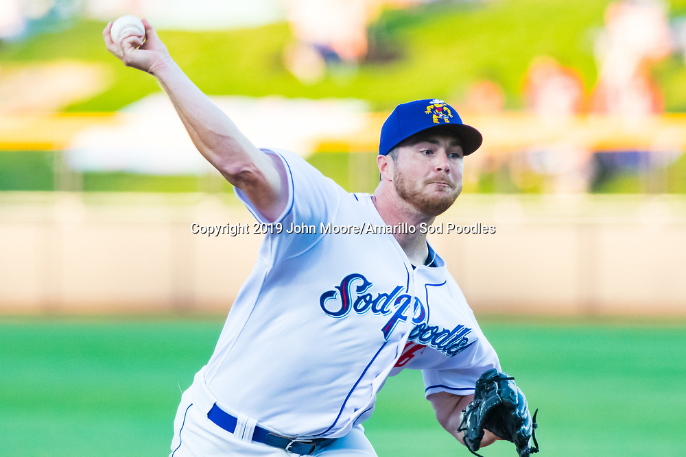 Amarillo Sod Poodles pitcher T.J. Weir (16) pitches against the Midland RockHounds on Wednesday, May 15, 2019, at HODGETOWN in Amarillo, Texas. [Photo by John Moore/Amarillo Sod Poodles]