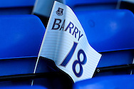 Flags ready for the fans to celebrate Gareth Barry of Everton's 600 premiership game. Premier league match, Everton v Middlesbrough at Goodison Park in Liverpool, Merseyside on Saturday 17th September 2016.<br /> pic by Chris Stading, Andrew Orchard sports photography.