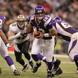 2008 October, 06: Minnesota Vikings quarterback Gus Frerotte (12) looks to handoff during a week five regular season game between the Minnesota Vikings and the New Orleans Saints for Monday Night Football at the Louisiana Superdome in New Orleans, LA.