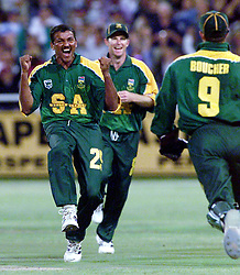 South Africa's Henry Williams celebrates the wicket of England's Nick Knight, during the 2nd one-day International cricket match at the Newlands Cricket ground, Cape Town.