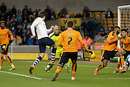 Preston North End defender Adam Reach strikes home Preston's second goal during the Sky Bet Championship match between Wolverhampton Wanderers and Preston North End at Molineux, Wolverhampton, England on 13 February 2016. Photo by Alan Franklin.