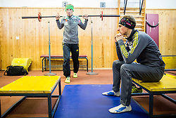 Robert Kranjec and Jaka Hvala during fitness training of Slovenian Ski jumping National A team, on May 6, 2016, in Stadium Kranj, Slovenia.Photo by Vid Ponikvar / Sportida