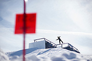 Tyler Nicholson during Snowboard Slopestyle Practice at the 2016 X Games Aspen in Aspen, CO. ©Brett Wilhelm/ESPN