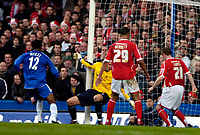 Photo: Ed Godden/Sportsbeat Images.<br /> Chelsea v Nottingham Forest. The FA Cup. 28/01/2007.<br /> Chelsea's Mikel (L), scores to make it 3-0.