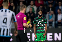 (L-R) referee Danny Makkelie, Miquel Nelom of Feyenoord during the Dutch Eredivisie match between Heracles Almelo and Feyenoord Rotterdam at Polman stadium on September 09, 2017 in Almelo, The Netherlands