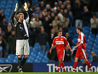 Photo: Paul Thomas.<br /> Manchester City v Middlesbrough. The Barclays Premiership. 30/10/2006.<br /> <br /> Man City keeper Nicky Weaver thanks the crowd after his clean sheet.