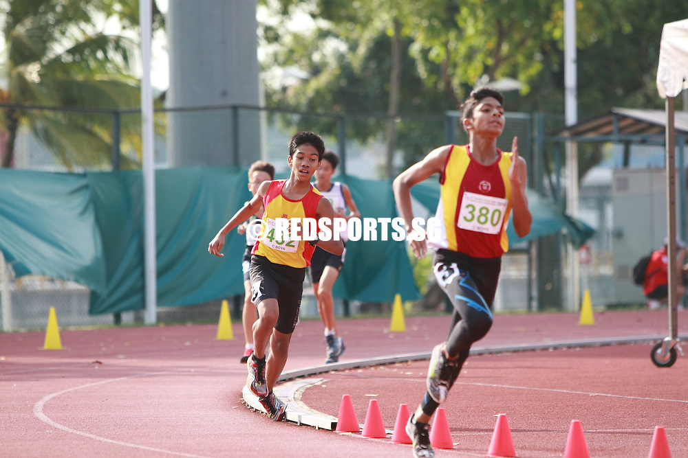 Bishan Stadium, Thursday, April 21, 2016 — Nur Muhammad of Victoria School (VS) took home the C Division Boys 3000m gold at the 57th National Schools Track and Field Championships with a timing of 10 minutes 36.69 seconds.