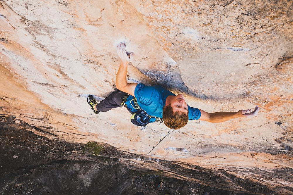 Cody Scarpella on Ricochet, 5.12a, Rifle Mountain Park, Colorado.