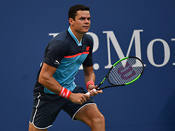 September 2, 2018 - Flushing Meadow, NY, U.S. - FLUSHING MEADOW, NY - SEPTEMBER 02:  Milos Raonic (CAN) in action during his 4th round match in the Men's Singles Championships at the US Open on September 02, 2018, at the Billie Jean King Tennis Center, Flushing Meadow, NY.(Photo by Cynthia Lum/Icon Sportswire) (Credit Image: © Cynthia Lum/Icon SMI via ZUMA Press)