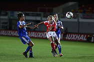 Charlotte Estcourt of Wales Women © has a shot at goal. UEFA Womens Euro qualifying match, Wales Women v Israel Women at Rodney Parade in Newport, South Wales on Thursday 15th September 2016.<br /> pic by Andrew Orchard, Andrew Orchard sports photography.