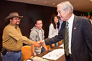 """Dec. 5, 2009 -- TEMPE, AZ: Rep. RON PAUL (R-TX) greets supporters at the Arizona Campaign for Liberty Convention in the Memorial Union building in Tempe, AZ, Saturday. Rep. Paul is in the Phoenix, AZ, area over the weekend making speeches and signing his book, """"End the Fed."""" Saturday morning he spoke at the first annual """"Arizona Campaign for Liberty Convention."""" Most of the attendees supported Rep. Paul during his run for the Republican nomination for US President in 2008.   Photo by Jack Kurtz"""