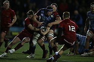Seb Davies of Cardiff Blues is held up by the Munster defence as he heads for the try line.  Guinness Pro14 rugby match, Cardiff Blues v Munster Rugby at the Cardiff Arms Park in Cardiff, South Wales on Saturday 17th February 2018.<br /> pic by Andrew Orchard, Andrew Orchard sports photography.