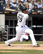CHICAGO - APRIL 06:  Jose Abreu #79 of the Chicago White Sox hits a home run against the Seattle Mariners on April 6, 2019 at Guaranteed Rate Field in Chicago, Illinois.  (Photo by Ron Vesely)  Subject:  Jose Abreu
