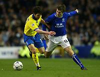 Photo. Aidan Ellis.<br /> Everton v Birmingham City.<br /> FA Barclaycard Premiership.<br /> 28/12/2003.<br /> Everton's Kevin Kilbane and Birmingham's Damian Johnson