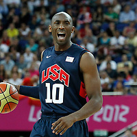 10 August 2012: USA Kobe Bryant sets a play during 109-80 Team USA victory over Team Argentina, during the men's basketball semi-finals, at the North Greenwich Arena, in London, Great Britain.