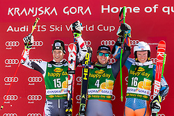 Winner LIGETYTed of USA, second place for RAICHBenjamin of Austria and third place for KRISTOFFERSENHenrik of Norway at medal ceremony during the 2nd Run of Men's Giant Slalom - Pokal Vitranc 2014 of FIS Alpine Ski World Cup 2013/2014, on March 8, 2014 in Vitranc, Kranjska Gora, Slovenia. Photo by Matic Klansek Velej / Sportida