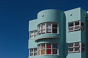 Art Deco Apartments at Bondi Beach, Sydney, Australia. Surfboards on display in one of the apartment windows, a two minute walk to the surf at Bond Beach.