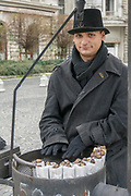 Street vendor selling Chestnuts from a mobile stall, Budapest, Hungary