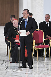 October 5, 2016 - Vatican City, Vatican - U.N. Secretary General Ban Ki-moon speaks during the International conference ''Sport at the Service of Humanity'', the first global conference on faith and sport promoted by the Vatican Pontifical Council for Culture, in the Paul VI hall in Vatican City, Vatican on October 05, 2016. (Credit Image: © Giuseppe Ciccia/Pacific Press via ZUMA Wire)