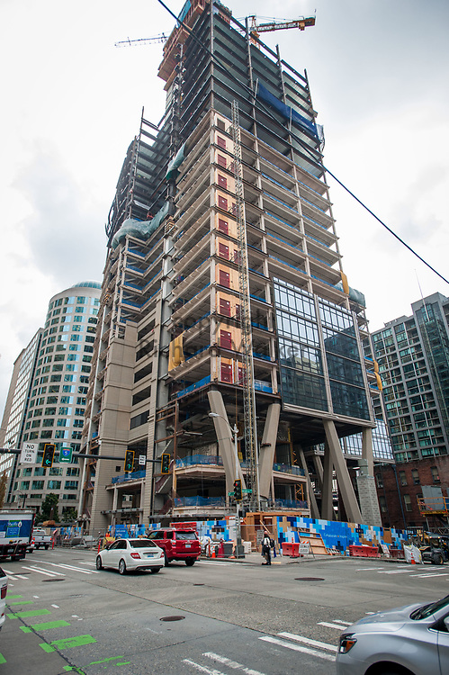 2018 SEPTEMBER 20 - Exterior construction view of 2+U (2 and U) building from 2nd Avenue in downtown Seattle, WA, USA.  By Richard Walker