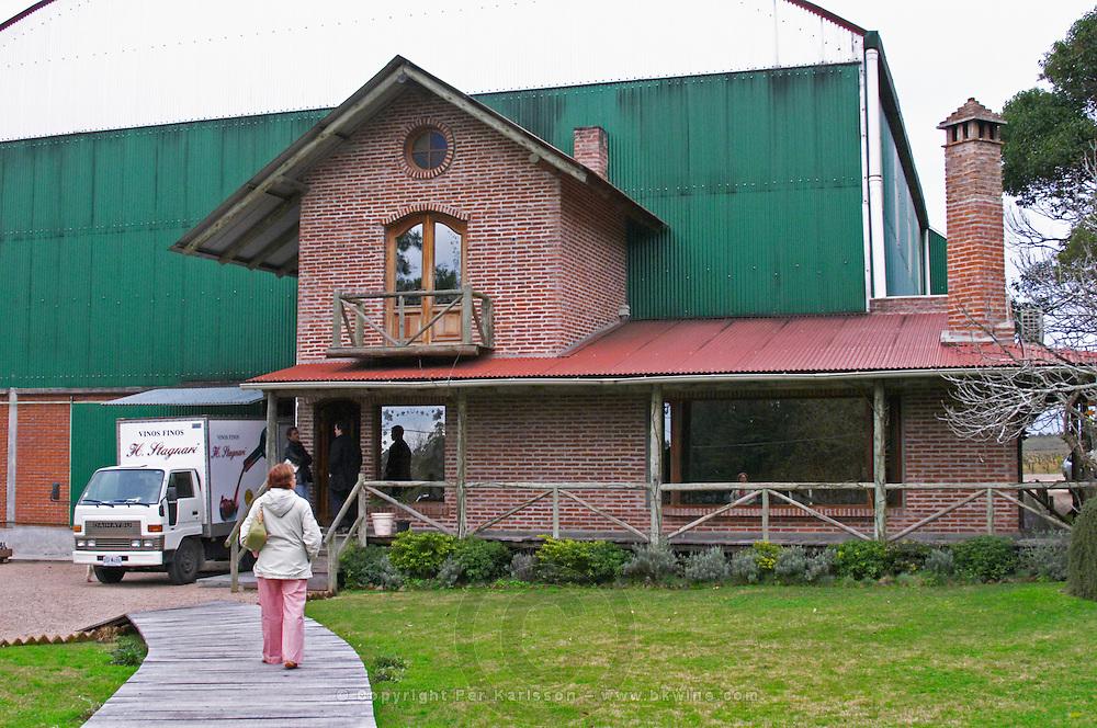 The winery building. Bodega Vinos Finos H Stagnari Winery, La Puebla, La Paz, Canelones, Montevideo, Uruguay, South America