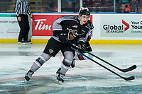 KELOWNA, BC - JANUARY 26: Cole Shepard #16 of the Vancouver Giants looks for the pass as Kyle Topping #24 of the Kelowna Rockets back checks during third period at Prospera Place on January 26, 2020 in Kelowna, Canada. (Photo by Marissa Baecker/Shoot the Breeze)