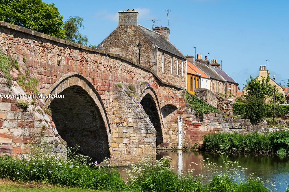 Nungate Bridge and River Tyne at Haddington, East Lothian, Scotland, UK