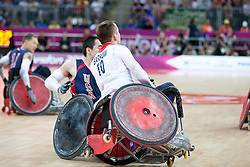 © London News Pictures. 05/09/2012. Andy Barrow of ParalympicGB wheelchair rugby team in action. The opening game of the wheelchair rugby competition started today between ParalympicsGB and world champions USA at the Paralympic Games in Stratford, London, UK. Team USA won the match 56 - 44. Photo credit should read Manu Palomeque/LNP