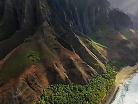 Aerial view of The Nā Pali Coast state Park in Hawaii, USA.