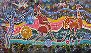 """This aboriginal art design by Danny Eastwood was painted by the youth and people of Woolloomooloo in August 1998 on a public wall in Sydney, New South Wales (NSW), Australia. Published for educational purposes in """"Light Travel: Photography on the Go"""" book by Tom Dempsey 2009, 2010."""