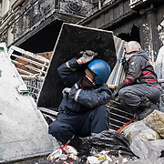 January 25, 2014 - Kiev, Ukraine: Anti-government protestors continue to demonstrate outside the Dynamo Kiev stadium near the Independence Square in central Kiev.