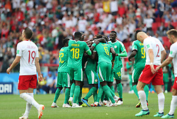 MOSCOW, June 19, 2018  Players of Senegal celebrate scoring during a Group H match between Poland and Senegal at the 2018 FIFA World Cup in Moscow, Russia, June 19, 2018. (Credit Image: © Ye Pingfan/Xinhua via ZUMA Wire)