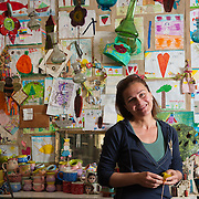 Ceramic artist Aimilia Giannarou 49, member of the TEM network (local alternative currency )in her workshop in Nea Ionia, Volos.