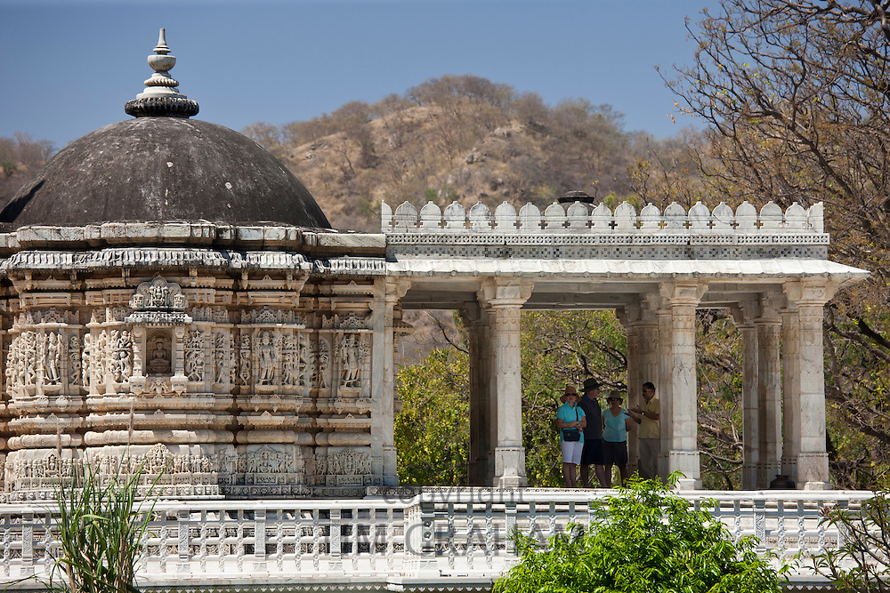 Tourists with tour guide at The Ranakpur Jain Temple at Desuri Tehsil in Pali District of Rajasthan, Western India