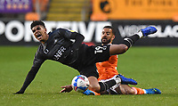 Blackpool's Kevin Stewart battles with Doncaster Rovers' Tyreece John-Jules<br /> <br /> Photographer Dave Howarth/CameraSport<br /> <br /> The EFL Sky Bet League One - Blackpool v Doncaster Rovers - Tuesday 4th May 2021 - Bloomfield Road - Blackpool<br /> <br /> World Copyright © 2021 CameraSport. All rights reserved. 43 Linden Ave. Countesthorpe. Leicester. England. LE8 5PG - Tel: +44 (0) 116 277 4147 - admin@camerasport.com - www.camerasport.com