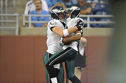 DETROIT - SEPTEMBER 19: Wide Receiver DeSean Jackson #10 and tight end Brent Celek #87 of the Philadelphia Eagles celebrate a touchdown during the game against the Detroit Lions on September 19, 2010 at Ford Field in Detroit, Michigan. The Eagles won 35-32. (Photo by Drew Hallowell/Getty Images)  *** Local Caption *** DeSean Jackson;Brent Celek