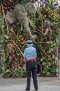 A Chelsea Pensioner inspects the final preparations for the Safary in Bloom gates at the Chelsea Flower Show organised by the Royal Horticultural Society with M&G as its amin sponsor for teh final year.