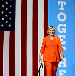 Democratic presidential nominee Hillary Clinton takes the stage at the Osceola Heritage Park Exhibition Hall on Monday, Aug. 8, 2016 in Kissimmee, Fla. Earlier in the day, Clinton campaigned in St. Petersburg, FL, USA. Photo by Joe Burbank/Orlando Sentinel/TNS/ABACAPRESS.COM