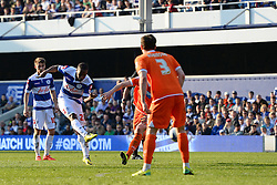 QPR's forward David Hoilett shoots and scores a goal - Photo mandatory by-line: Mitchell Gunn/JMP - Tel: Mobile: 07966 386802 29/03/2014 - SPORT - FOOTBALL - Loftus Road - London - Queens Park Rangers v Blackpool - Championship